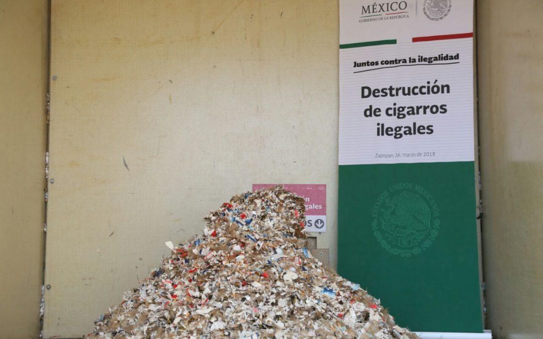 Destruye SAT más de 10 millones de cigarros ilegales en Jalisco
